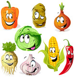 Fototapety funny vegetable and spice cartoon