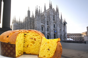 Panettone with cathedral background