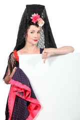 Woman wearing traditional Spanish dancer outfit