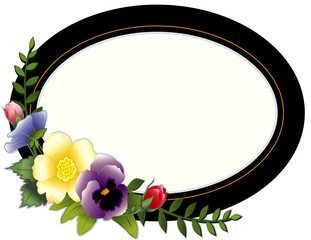 Picture Frame, copy space, vintage style with pansies, roses