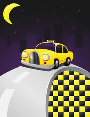 Yellow cab in a night ride