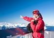 Man shows the slopes of the ski resort of Kaprun. Austria