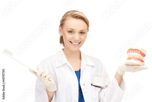 attractive female doctor with toothbrush and jaws