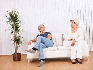 Senior couple after an argument