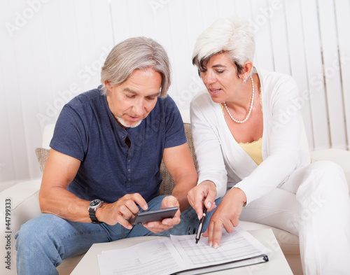 Senior couple doing their finances