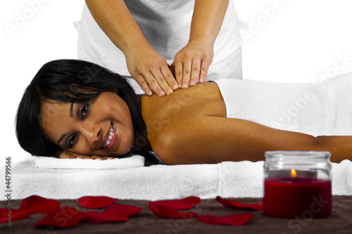 African American Female getting a massage