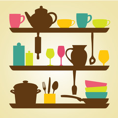 Kitchen  icons, vector illustration