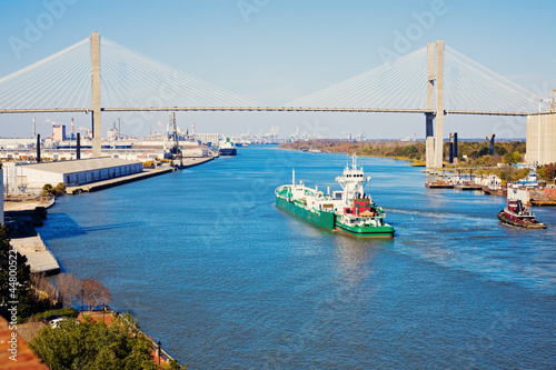 Ship entering port of Savannah
