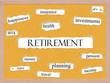 Retirement Corkboard Word Concept