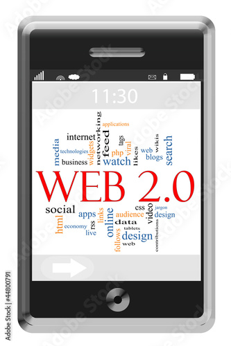 Web 2.0 Word Cloud Concept on Touchscreen Phone