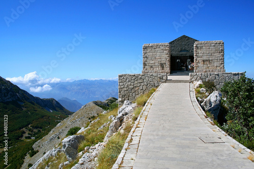 Mausoleum on the top of mountain in national park of Lovcen