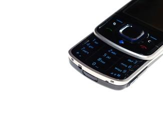 Telefono iluminado con fondo blanco.