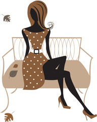 Silhouette of  woman  sitting on the bench. Vector