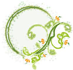 Elegant oval frame with flower