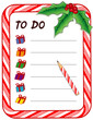 Christmas Gift To Do List, candy cane frame, pencil, gifts