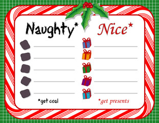 Santa's Naughty and Nice List, candy cane frame, coal, presents