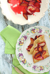 Pancakes with homemade fresh plum`s confiture