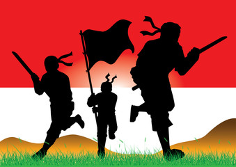Illustration - silhouettes of armed soldiers charging forward