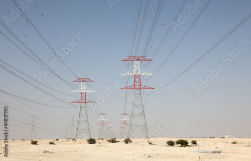 High voltage towers in the desert of Qatar, Middle East