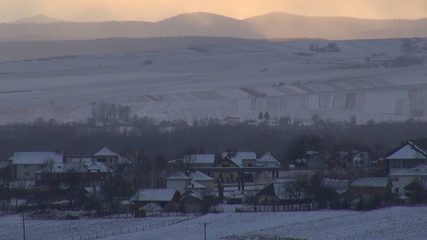 Winter time over the village