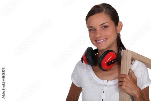 Girl holding frame