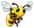 Happy waving cartoon bee