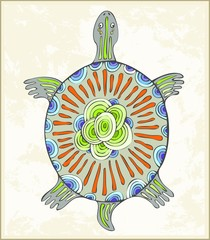 Illustration a turtle in ethnic style.