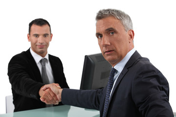 Businessmen sealing deal with hand shake