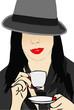 Donna che beve un caffè espresso