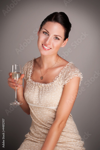 Portrait of luxury lady with champagne