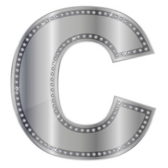 C ダイヤモンド アルファベット 銀