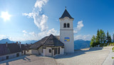 panoramic view of church in monte lussari, small mountain villag