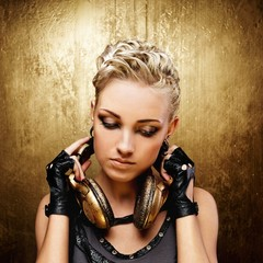 Steam punk girl with headphones