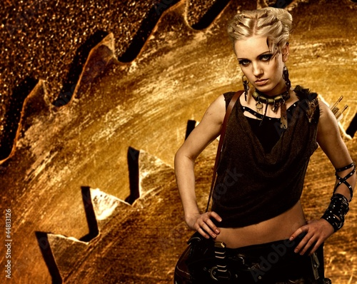 Girl on an abstract metal background