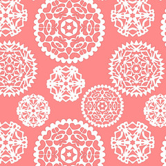 Christmas paper snowflakes seamless pattern in pink, vector