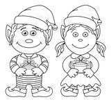 Christmas elves, boy and girl, outline poster