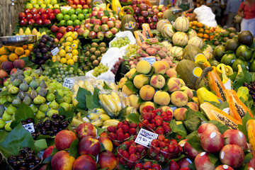 Fruits market, in La Boqueria, Barcelona