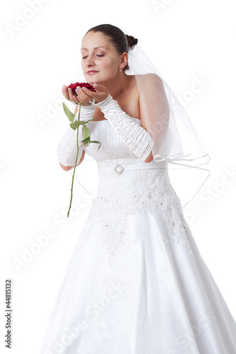 Bride with red rose