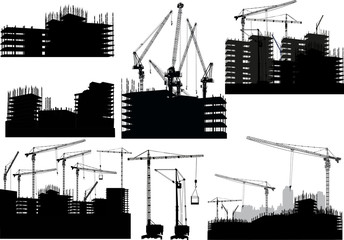 set of isolated unfinished buildings