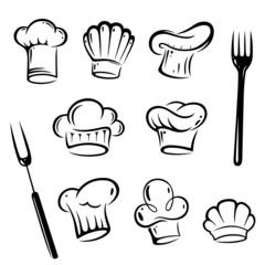 Koch, Kochmützen, Kochen, vector set