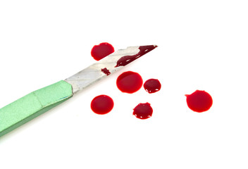 Green cutter knives and blood on white background