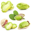 Pistachio kernels, isolated on white background