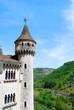 Vista lateral del torreon que preside el pueblo de Rocamadour. F