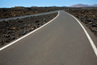 Black volcanic soil and road detail in Lanzarote