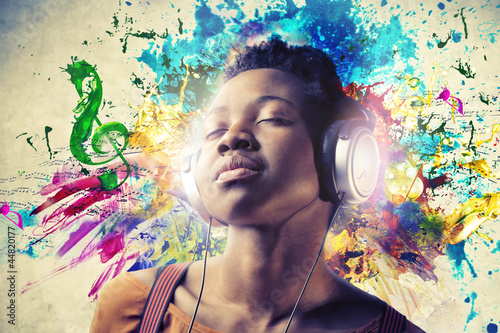 canvas print picture Black Girl with Headphones