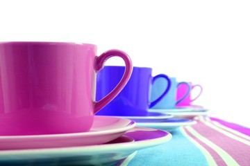 colorful coffee cups (white background)