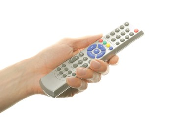 hand holding a remote control isolated on white background