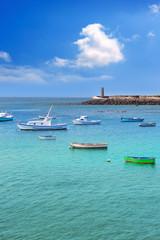 Arrecife Lanzarote boats harbour in Canaries