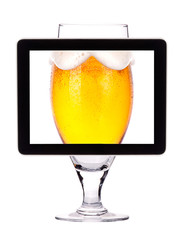 beer glass on tablet computear screen