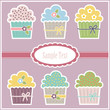 Colorful greeting card with illustration of cupcakes